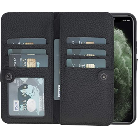 Pieno Full Leather Covered Magnetic Detachable Wallet Case for Apple iPhone 11 Pro 5.8 in Pebble Black by Burkley Case