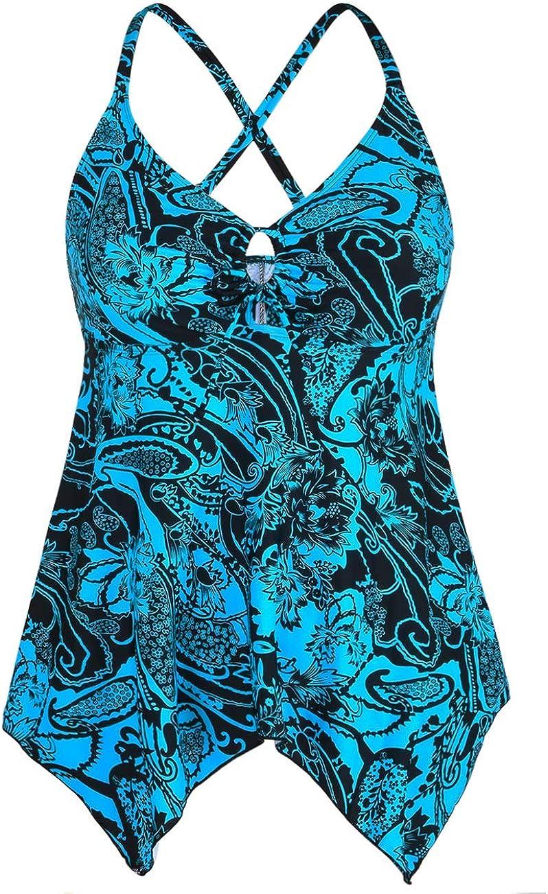 Firpearl Women's Tankini Swimsuits Modest Flowy Crossback Plus Size Bathing Suit Top