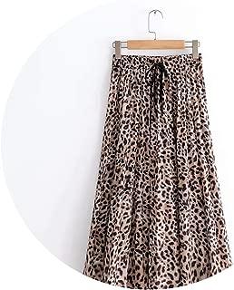 2019 New Women Vintage Leopard Printing Pleated midi Skirt mid-Calf Skirts QUN119,as pic QUN119,M