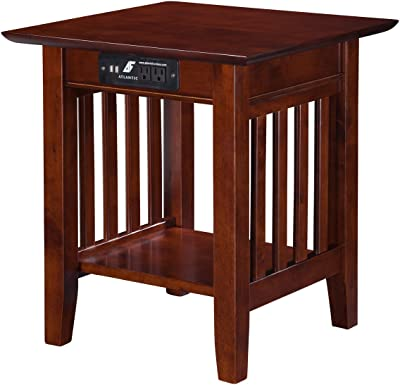 Atlantic Furniture Mission End Table with Charging Station, Walnut