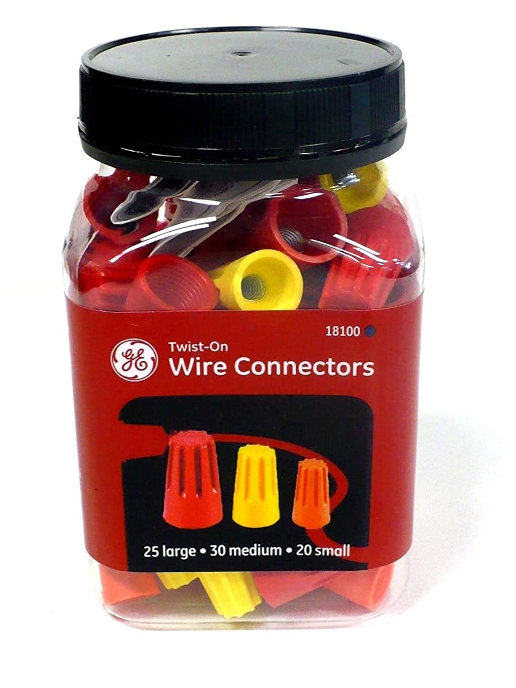 GE Wire Connectors, Twist-On Assorted Sizes, 75 Per Pack 18100