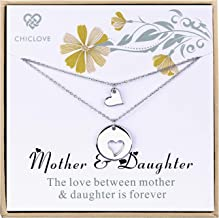 CHICLOVE Mother Daughter Jewelry Sets for Two, Cutout Heart Necklaces, 2 Sterling Silver Necklaces