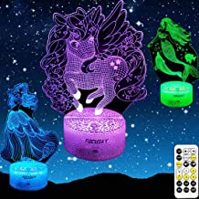 Focusky Unicorn Gifts for Girls,Mermaid Princess Gifts Dimmable Night Lights with Timer,Remote&Smart Touch,7 Colors Changi...