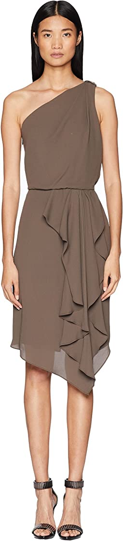 One Shoulder Drape Detail Dress w/ Embellishment