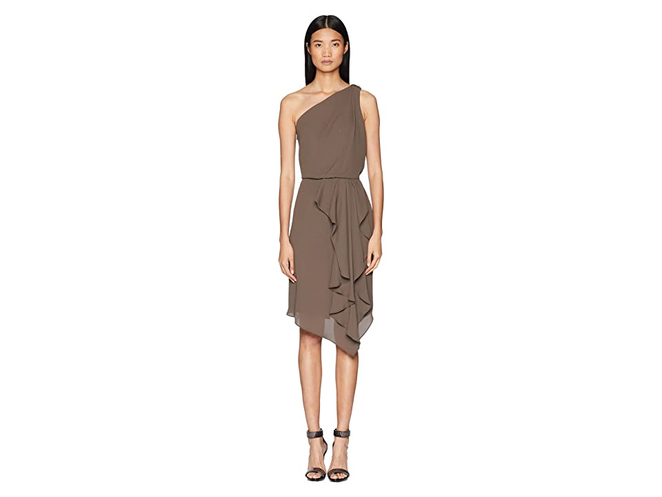 Halston Heritage One Shoulder Drape Detail Dress w/ Embellishment (Sage) Women