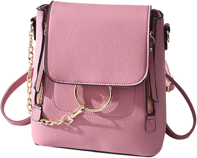 HENGSHENG Fashion Women Crossbody Backpack Purse Small Pu Leather Shoulder Bag Ladies Cute Chain Satchel Bag (Fashion Pink)