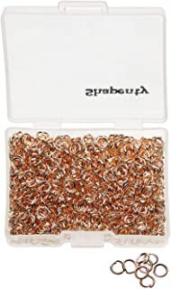 Shapenty 1000PCS Rose Gold Iron Open Jump Rings Connectors Bulk for DIY Craft Earring Necklace Bracelet Pendant Choker Jewelry Making Findings and Key Ring Chain Accessories (Rose Gold, 4mm)