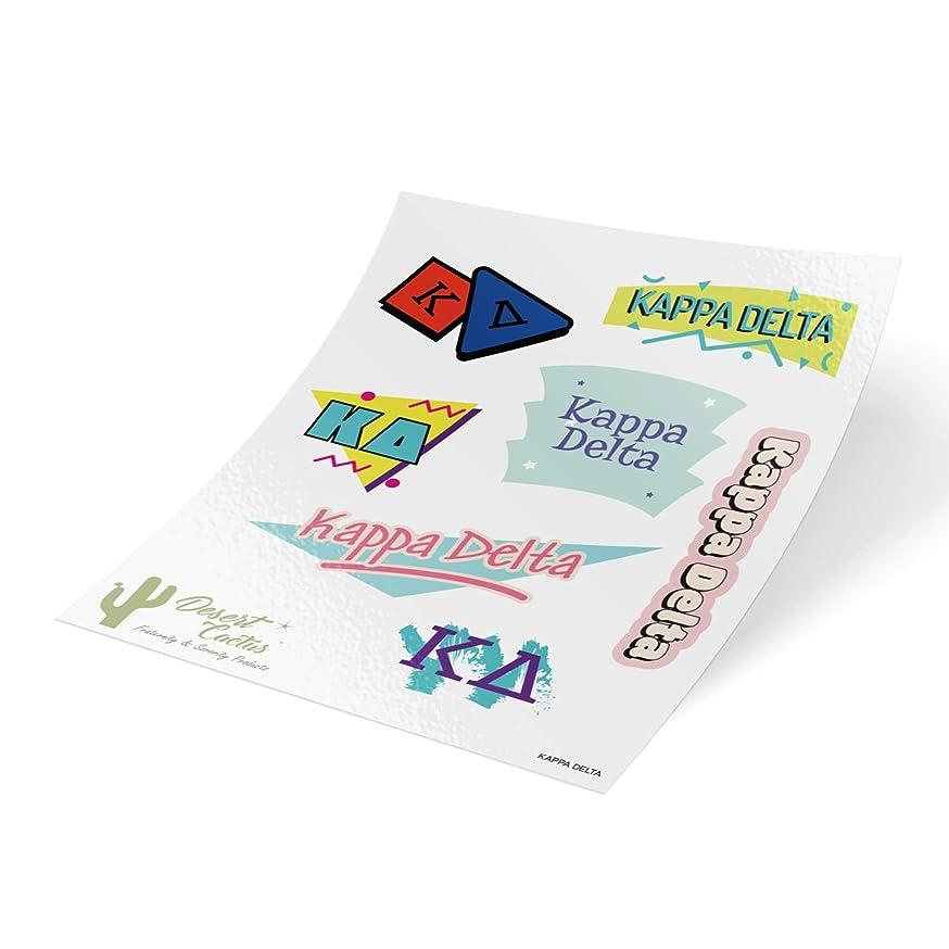 Kappa Delta 90's Themed Sticker Sheet Decal Laptop Water Bottle Car KD (Full Sheet - 90's)