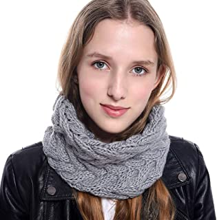Scarf for Women,Futemo Chunky Knit Cowl Circle Thick Crochet Winter Warm Neck Wrap Collar Scarves Gift for Girlfriend