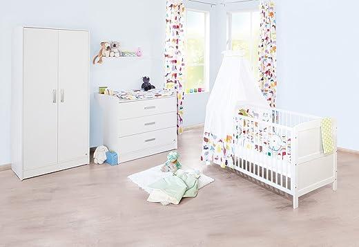 Pinolino Kinderzimmer Viktoria breit, 3-teilig, Kinderbett (140 x 70 cm), breite Wickelkommode mit Wickelansatz und Kleiderschrank, weiß (Art.-Nr….
