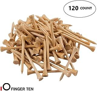 FINGER TEN Golf Tees Wood 2 3/4 3 1/4 2 1/8 4 Inch Bulk 120 Count, Wooden Tee 70 83 54 mm Color Blue Red White for Men Women Kids
