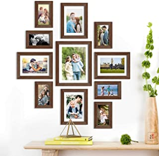 Olympian Set of 11 Brown Wall Photo Frame, Picture Frame for Home Decor with Free Hanging Accessories-Size-4x6, 6x8, 8x10 ...