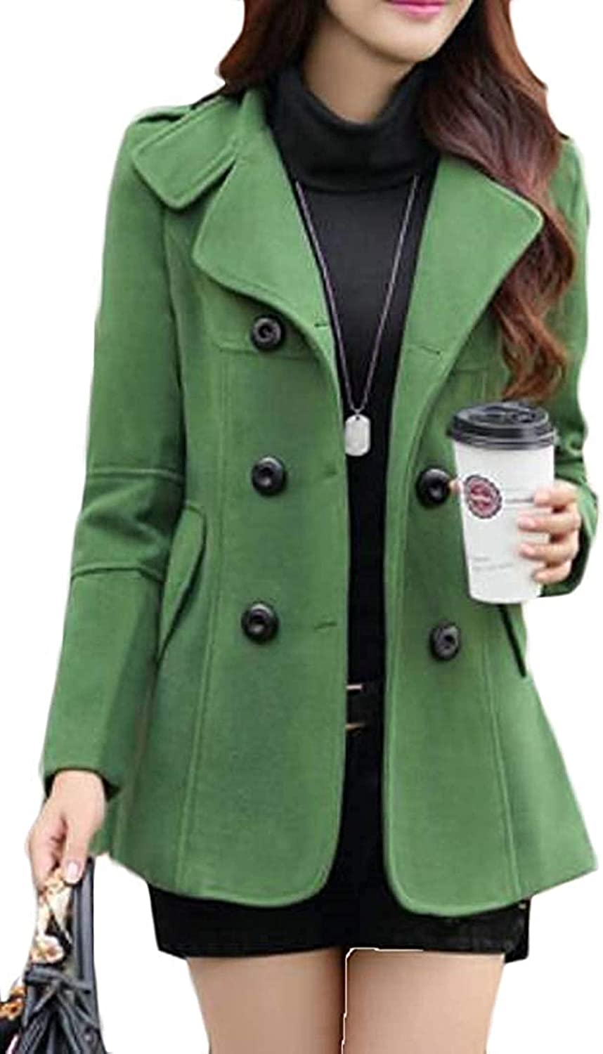 Zjeia Women's Overcoat Finally free popular brand Winter Double Breasted Solid Wool Color B