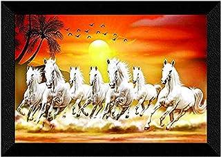 1ArtofCreation 7 Running Horses at Sunrise Vastu UV Textured Multi-Effect Framed Painting 11 Inch X 14 Inch