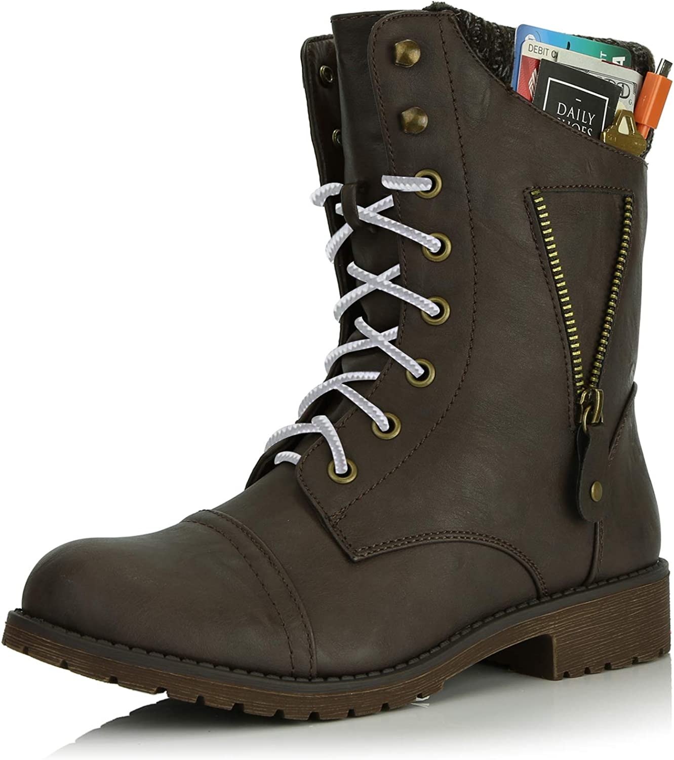 DailyShoes Women's Military Lace Up Buckle Combat Boots Zipper Sweater Ankle High Exclusive Credit Card Pocket, Grey White