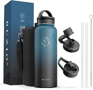 بطری آب BUZIO با درب حصیری ، درپوش خروجی ، درپوش دستی و کیسه حمل ، ظرف 40 گرم 64oz فولاد ضد زنگ ، سرد به مدت 48 ساعت گرم به مدت 24 ساعت لیوان مایع دوقلوی خلاac ، بدون BPA