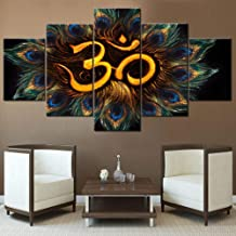 5 Piece Canvas Wall Art Sacred Aum Sanskrit Symbol Pictures Circle of Peacock Feathers Artwork Hinduism Painting for Living Room Home Decor Wooden Framed Ready to Hang Posters and Prints(60''Wx 32''H)