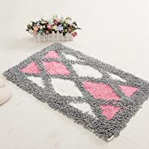 Anti-Skid Blue Plus Powder Checkered mats, Home Stair Bathroom Absorbent pad Rug 45 * 70cm (Color : Pink)