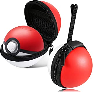 Poke Ball Plus Case For 2 Balls,Portable Lets Go Pikachu Eevee Game Protective Carry Case Hard Travel Pokeball Case Bag fo...