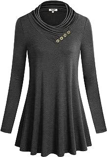 Women's Turtleneck Long Sleeve Irregular Hem Tunic Tops with Pockets