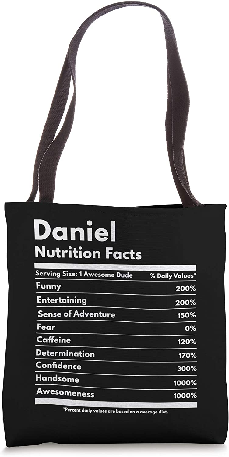 Daniel Gift Nutrition Facts Funny Personalized Name Daniel Tote Bag