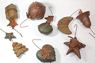 RUSTIC WIRE ORNAMENTS 4 Piece Assortment CRACKLE PAINT & RUSTY WIRE