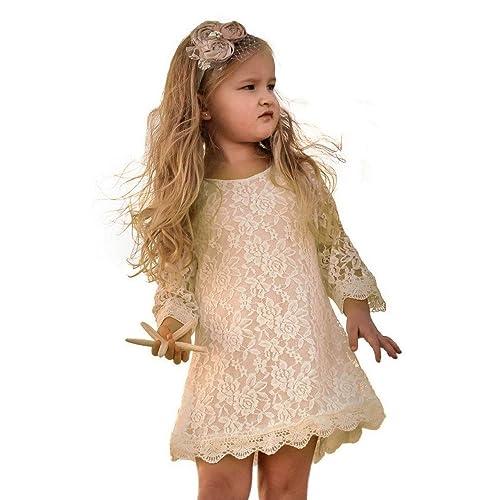 e1b5c2537ca1 APRIL GIRL Flower Girl Dress, Lace Dress 3/4 Sleeve Dress