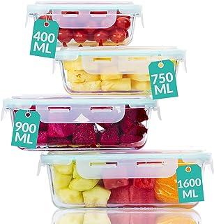 Boite de Conservation en Verre avec Couvercle - Set de 4 Boites alimentaires- Etanche- Sans BPA - Verre Borosilicate