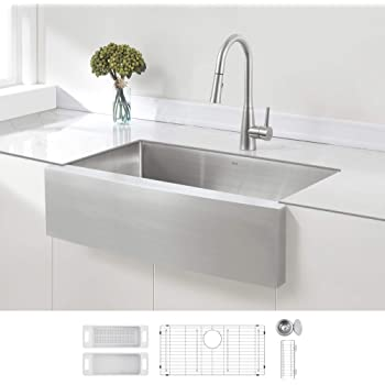 ZUHNE 33-Inch Single Bowl Farmhouse Apron Stainless Steel Kitchen Sink, 16-Gauge