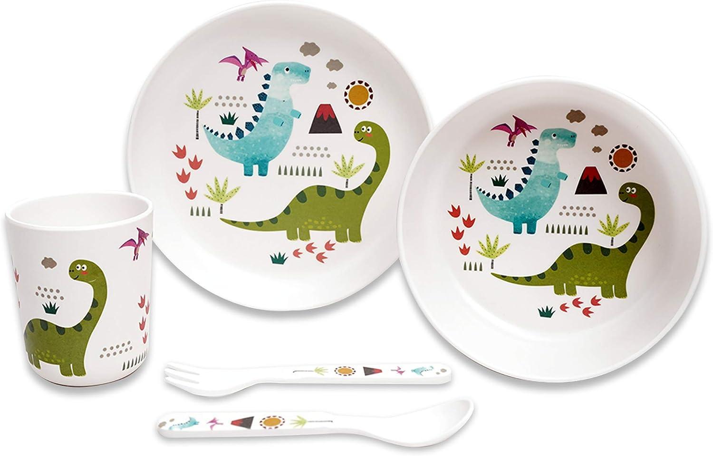 Motif dinosaure. St Stehlen Ensemble de 5 pi/èces en m/élamine pour enfants 1 assiette, 1 bol, 1 verre, 1 cuill/ère, 1 fourchette
