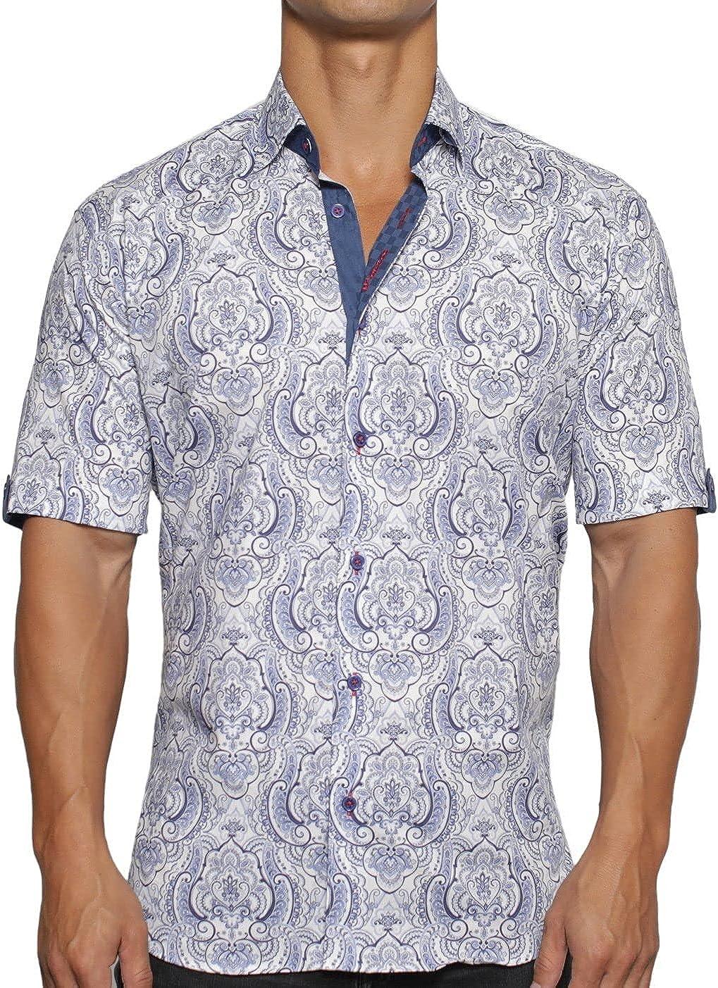 Maceoo Mens Designer Dress Shirt SS - Stylish & Trendy - Galileo Royal White - Shaped Fit