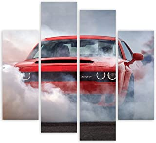 DYNAMO PRINTING LTD 2018 Dodge Challenger SRT Demon American Muscle CAR Burnout 4 Panel Canvas Wall Art