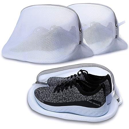 AJOXEL Paquete de 3 Bolsas de Lavado para Zapatos, Saco Lavadora para Lavar Zapatillas Malla Bolsas para la Colada Lavadora Secadora Proteger la Ropa Lavandería Bolsas para Organizador y Viajes