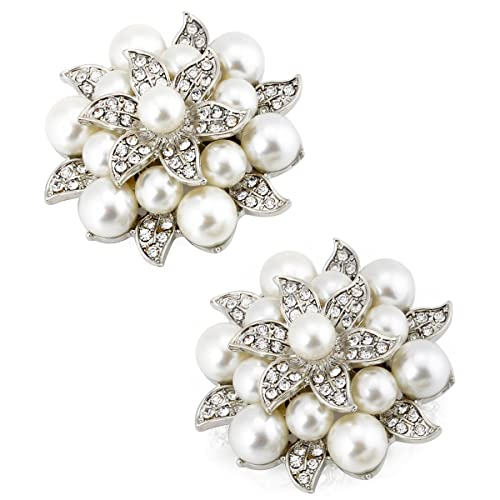 ElegantPark Fashion Rhinestones Pearls Flowers Crystals Wedding Party Shoe  Clips 2b79e5730c1d