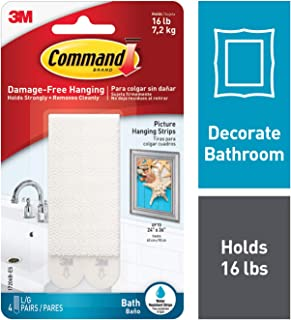 Command 3M Large Picture and Frame Hanging Strips, White-Bath, 4 Pairs