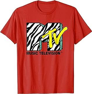 Zebra Print With Teal MTV Logo T- Shirts