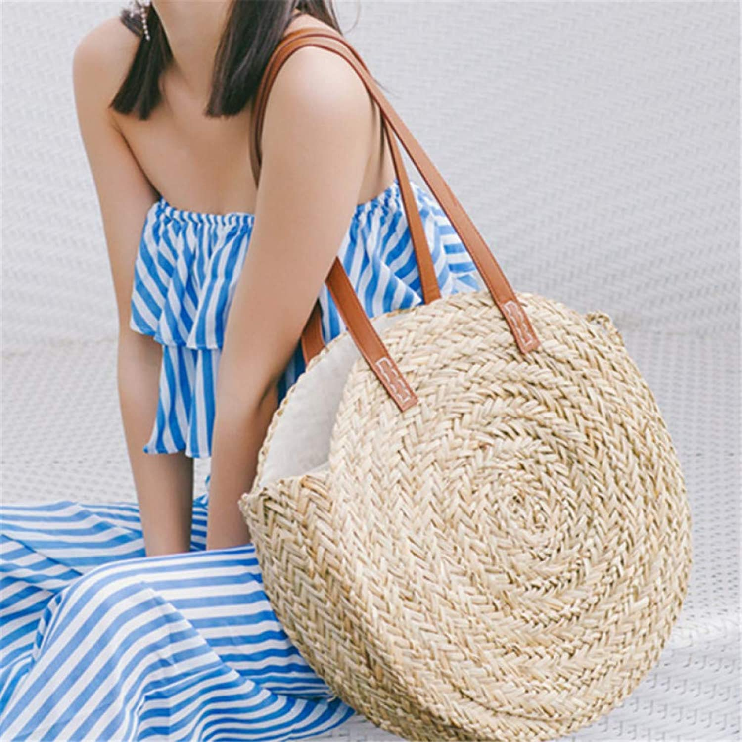 JQSM Mgoldccan Palm Basket Bag Women Hand Woven Round Straw Bags Natural Oval Beach Bag Big Tote Circle Handbag Dropshipping