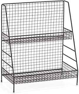 2-Tier Organizer Rack, Wire Basket Storage Container Countertop Shelf for Kitchenware Bathroom Cans Foods Spice Office and...