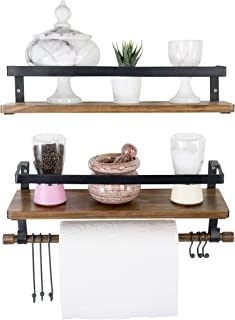 Kaliza Floating Shelves Wall Mounted 2-Pack, Rustic Decor for Bathroom, Bedroom, Kitchen, Living Room – Wooden Storage Shelves/Wall Shelves for Bathroom – Incredibly Easy to Install -