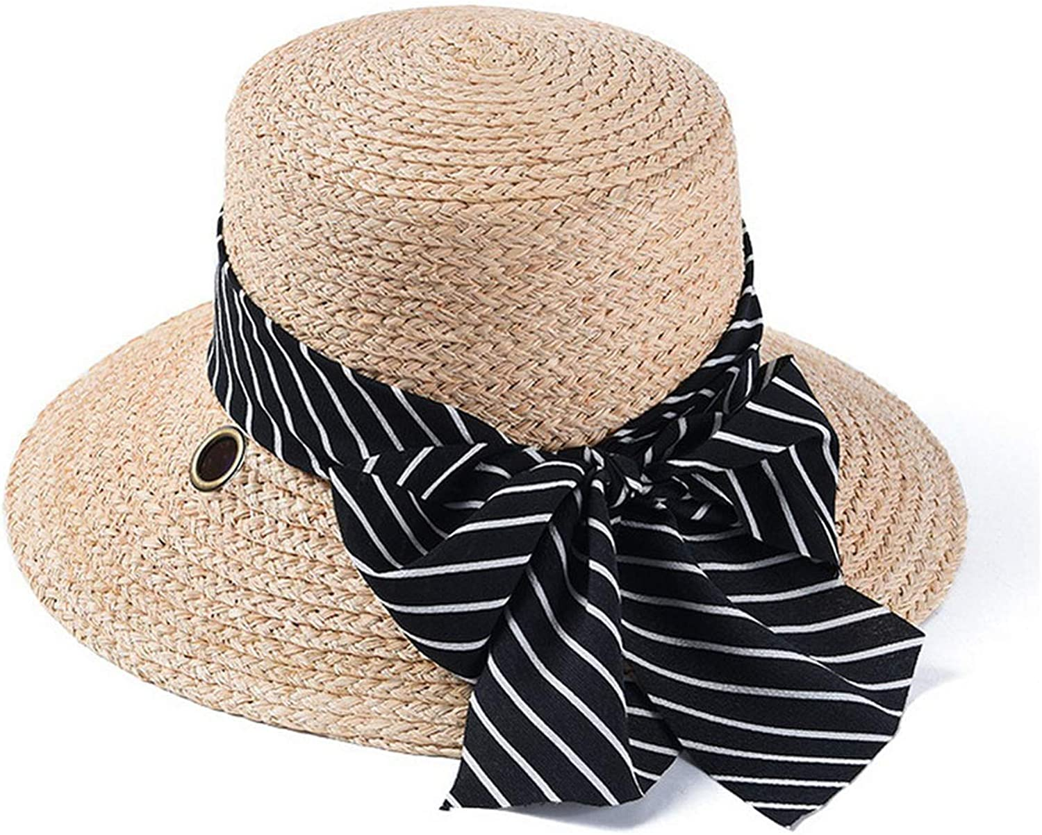 Cloche Straw Hat Female Summer Sun Hat Lady Women's Beach Vacation HOL,
