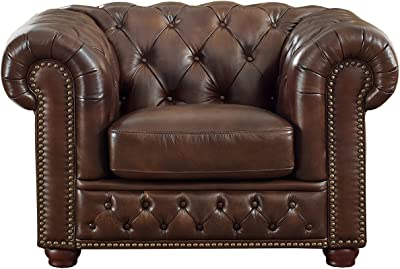 Coja by Sofa4life Laurel Leather Chair, Brown