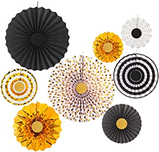 MOWO Gold Black and White Paper Fans Hanging Decoration for Baby Shower Wedding Birthday New Year's Party Supplies, Pack of 8
