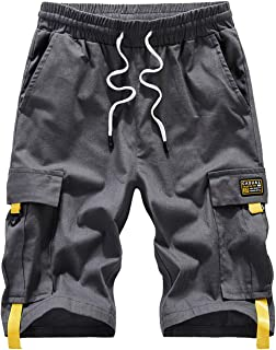 Vcansion Men's Casual Cotton Loose Fit Lightweight Multi-Pockets Cargo Shorts