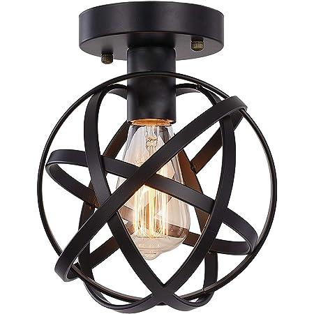 HOXIYA Plafonnier semi-encastré avec suspension en métal noir pour couloir Tairway Porche Chambre à coucher Cuisine Ferme Foyer Garage Plafonnier