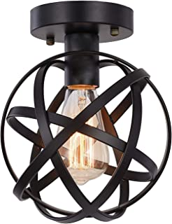 HOXIYA Plafonnier semi-encastré avec suspension en métal noir pour couloir Tairway Porche Chambre à coucher Cuisine Ferme ...