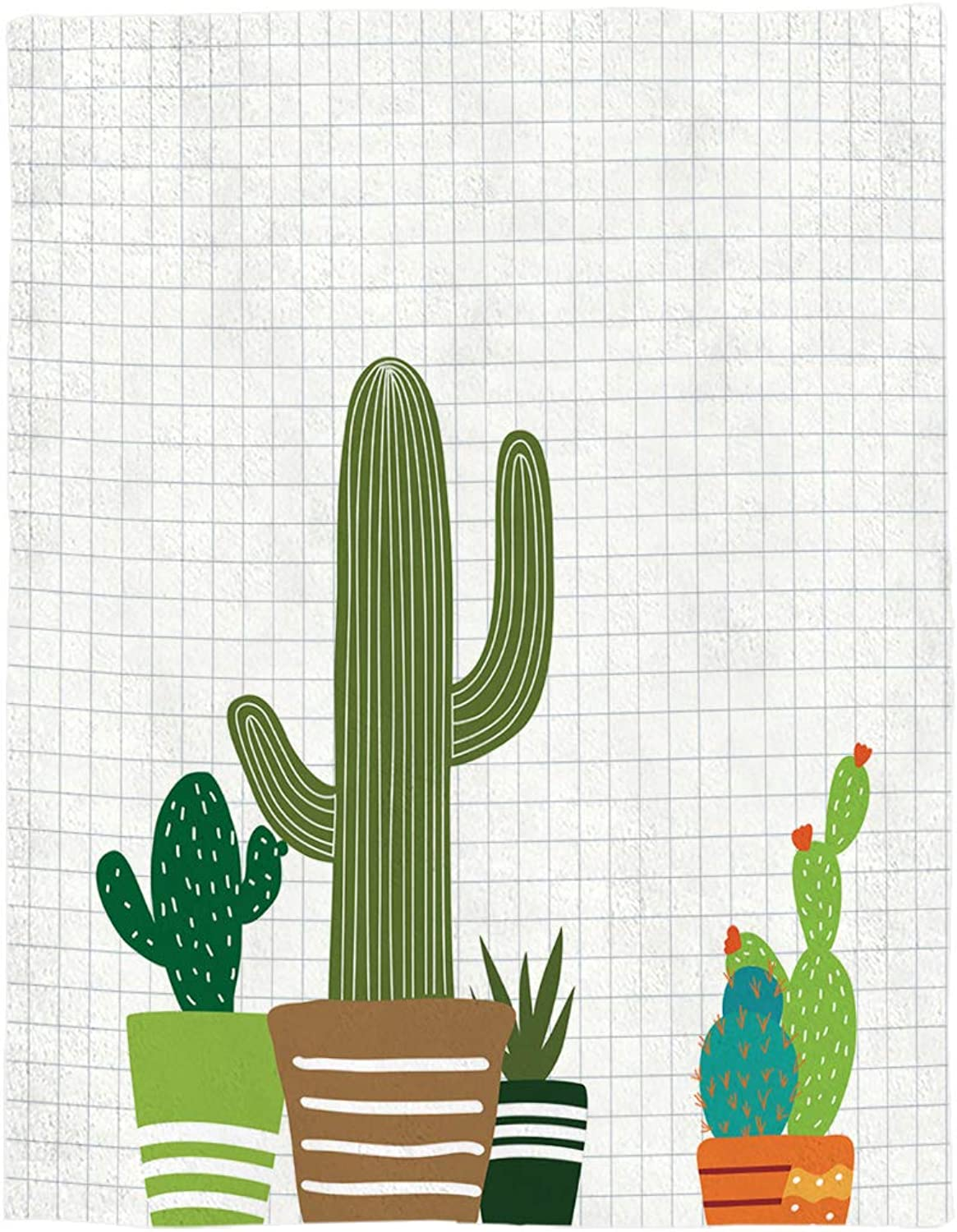 YEHO Art Gallery Flannel Fleece Bed Blanket Soft ThrowBlankets Home Decor,Cartoon Cacti Plant Pattern,Lightweight Cozy Plush Blankets for Bedroom Living Room Sofa Couch,49 x 59 Inch