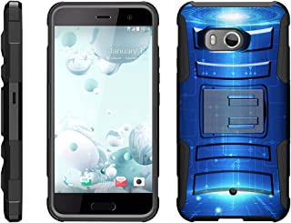 TurtleArmor   Compatible with HTC U11 Case   HTC Ocean Case [Hyper Shock] Armor Rugged Hybrid Kickstand Impact Silicone Holster Belt Clip - Blue Technology