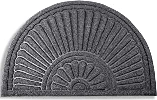 Mibao Large Half Round Welcome Mat Durable Entrance Mat Shoes Scraper Outdoor Rug Low Profile Design for Front Door 24 x 3...
