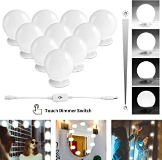 LED Hollywood Style Makeup Vanity Mirror Lights Kit with 10 Dimmable Light Bulbs,Plug in Flexible Lighting Fixture Strip for Bathroom Wall or Dressing Mirrors,Daylight (Mirror Not Included)