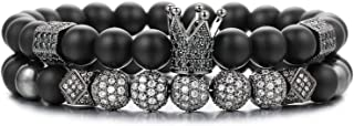 2PCS 8mm Crown King Charm Beads Bracelet for Men Women Natural Black Matte Onyx Stone Beads, 7.5